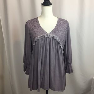 She + Sky Peasant Top dusty purple size small